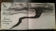 Another set of pages from my handbound, handstitched book. #art #artist #Detroitartist #tornadoe #charcoal #bookart #book