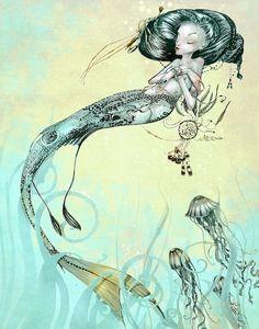 Nautical Print   Mermaid Jellyfish   Fantasy Art  by theFiligree