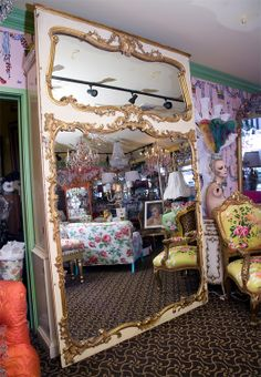 19c Grand Gilded French Mirror