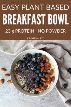Healthy easy vegan breakfast bowl that contains whole food ingredients, done in 10 minutes, and high in protein. High Protein Vegan Breakfast, High Protein Vegan Recipes, Vegan Breakfast Recipes, Breakfast Bowls, Breakfast Ideas, Post Workout Breakfast, Post Workout Food, Whole Food Recipes, Quick Dinner Recipes