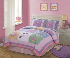 This quilt features pink and purple with all the little touches like scalloped edges, embroidered flowers, butterflies and lady bugs.  Twin size comes with quilt and 1 sham.  Full/Queen size comes with quilt and 2 shams.