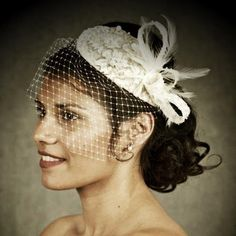 Not Relisting- Vintage Bridal Ivory Cream Lace fascinator Birdcage | eBay