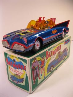BATMAN BATMOBILE TIN LITHO 1970's BATTERY OPERATED BLUE 12 inch VG WORKS W/BOX #CienGEToysCo