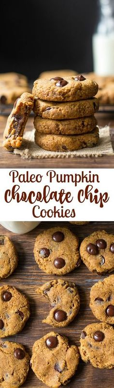 Soft and Chewy Paleo Pumpkin Chocolate Chip Cookies with a hint of warm cinnamon and pumpkin pie spice. Paleo Chocolate Chip Cookies, Paleo Cookies, Pumpkin Chocolate Chips, Chocolate Chip Recipes, Baking Cookies, Yummy Cookies, Paleo Dessert, Healthy Sweets, Gluten Free Desserts