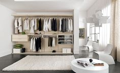 Top 12 Minimalist Wardrobe Designs For Small Space : Modern WalkIn IKEA Open Wardrobe Design with Five Small Drawers and Long Coat Hanger fo. Ikea Closet Design, Closet Designs, Ikea Bedroom, Closet Bedroom, Small Space Design, Small Spaces, Walk In Wardrobe Design, Minimalist Closet, Diy Rangement