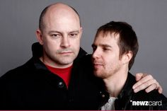 Actors Rob Corddry (L) and Sam Rockwell pose for a portrait during the 2009 Sundance Film Festival held at the Film Lounge Media Center on January 19, 2009 in Park City, Utah. (Photo by Keith Leman/WireImage)