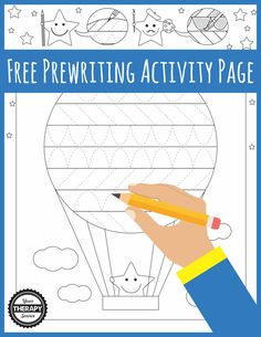 Prewriting Activity Page Hot Air Balloon Freebie