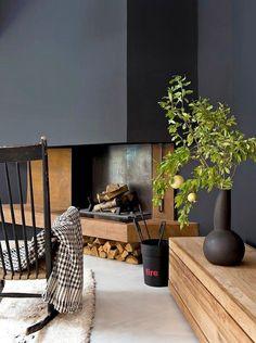 - Coins et recoins - Décoration salon / Living-room - deco Nordic style - La… Black Fireplace, Home Fireplace, Living Room With Fireplace, Fireplace Design, Modern Fireplace, Fireplaces, Interior Architecture, Interior And Exterior, Room Interior