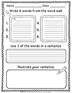 word work or writing activity