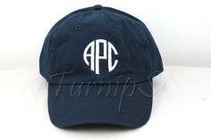 Awesome new circular monogram. You can customize the color baseball cap and text color. Great for your new little or big sister, or just as a present to yourself. This one is a navy hat with white letters displaying the initials APC