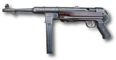 Maschinenpistole 40 (MP40)  developed in Germany and used extensively by the Axis powers during World War II.