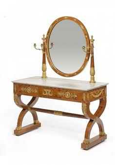 Dressing table Félix Remond (1779- after 1860) Paris, 1823 Exhibition of Industrial Products Oak, elm veneer, ampoine burl, mahogany, ash and lemon, golden bronze