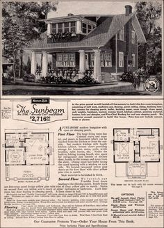 """The Sunbeam"" vintage home plan. #vintage #house #floor_plans"