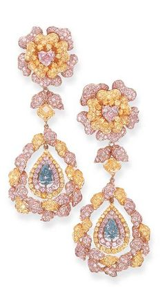 AN IMPRESSIVE PAIR OF FANCY COLOURED DIAMOND EAR PENDANTS Each designed as a yellow and pink diamond flowerhead with a central heart-shaped fancy pink diamond weighing 1.61 and 1.42 carats to the detachable radiant-cut fancy vivid yellow diamond collet weighing 1.80 and 1.73 carats suspending a pink and yellow diamond pendant with a central fancy grey-blue diamond weighing 2.00 and 1.50 carats, mounted in 18k gold and pink gold, 8.8 cm.