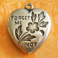 Vintage Forget Me Not Flowers Puffy Heart Sterling Silver Charm