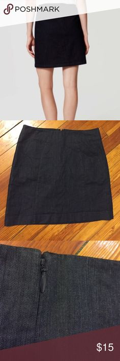 Loft A-Line Skirt Deep ink chambray mini skirt. Lined. Excellent condition, size 4. Flattering fit. Good for long legs, too. LOFT Skirts