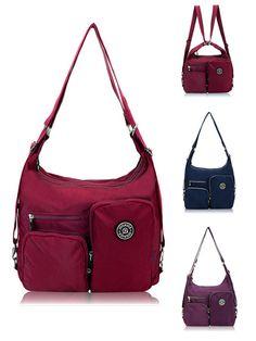 $23.32 Women Nylon Waterproof Multifunctional Handbags Crossbody Bag Backpack