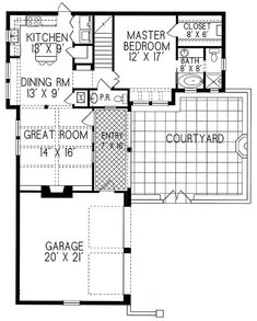 Plan #1-1289. Spanish style home with a living S.F. of 1547 (2106 S.F. Total), 2 full baths and 1 half baths. 2 story home, 42' wide, and 53' deep.