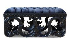 Simone Velvet Upholstered Bench - Black – Fabulous and Baroque Gothic Furniture, Steel Furniture, Rustic Furniture, Furniture Decor, Furniture Design, French Furniture, Antique Furniture, Modern Furniture, Black Furniture
