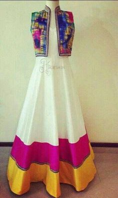 Gorgeous colourful desi dress and jacket. Indian Gowns, Indian Attire, Pakistani Dresses, Indian Wear, Indian Outfits, Indian Long Dress, Pakistani Couture, Kurta Designs, Blouse Designs
