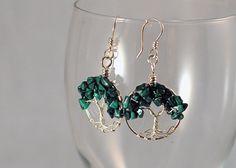 Malachite Sterling Silver Tree of Life Earrings by FreiaInguz, $129.00