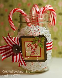 candy cane jar (not SU but could definitely be duplicated with SU's products!)