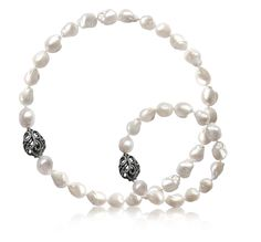 Fei Liu Whispering Necklace and Bracelet: 18K Black Gold with Baroque Pearl and Diamond