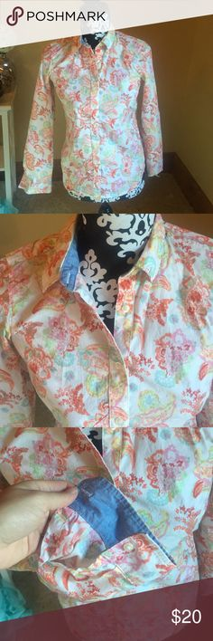 Paisley Button Up Colorful paisley button up blouse, chambray trim Izod Tops Button Down Shirts