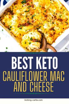 Looking for the best Keto Cauliflower Mac and Cheese? This is it! With cream cheese, extra-sharp cheddar, smoked gouda, and a punch of flavor from the spices, I promise you won't miss the carbs. This is cheesy comfort food at its best. #kickingcarbs #lowcarbrecipe #ketodinner #keto #cauliflower #cauliflowermac Best Low Carb Recipes, Gluten Free Recipes For Breakfast, Healthy Gluten Free Recipes, Gluten Free Dinner, Healthy Chicken Recipes, Real Food Recipes, Keto Recipes, Dinner Recipes, Paleo