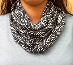 Popular infinity scarf cowl in black cream tones by PaulaMadeIt, $7.99