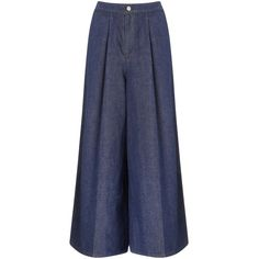 Victoria Victoria Beckham Indigo Denim Wide-Leg Culottes (30,110 INR) ❤ liked on Polyvore featuring pants, capris, jeans, trousers, bottoms, pantaloni, blue, cropped trousers, blue crop pants and wide leg denim trousers