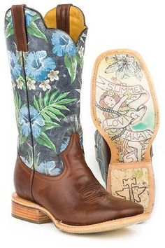 Tin Haul Men's Blue Hawii Tropics Cowboy Boots - HeadWest Outfitters
