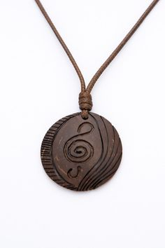 "Treble Clef  Art Pendant ""Soul"" from Coconut Shell music pendant wood carved unisex pendant spiral natural art pendant music jewelry - $20.00 USD"