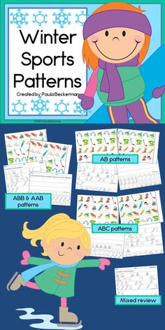 Winter sports and math come together in this fun patterning center. Winter Sports Patterns will have your students practicing AB, ABC, AAB & ABB patterns with pictures of hats, scarves, ice skaters, snowboarders, skiers and more. TpT$