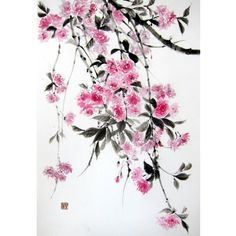 Japanese Ink Painting, Japanese art, Sumi-e, Suibokuga, Asian art,  Rice Paper painting, Pink Black, Large 18 x 26', Double cherry - pinned by pin4etsy.com