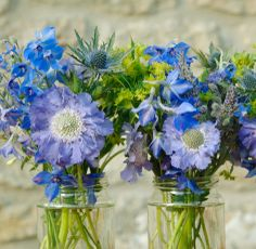 jam jar flowers blue - featuring scabious (larger flowers in front)