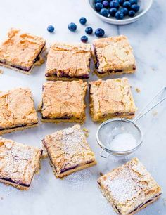 Lemon and blueberry slice These simple lemon and blueberry bars are seriously moorish, gooey on the inside and crunchy on the out, the ideal summertime picnic treat
