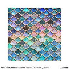 Aqua Pink Mermaid Glitter Scales- Mermaid Scales Glass Coaster