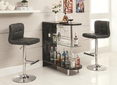 Black Bar Table Set with Adjustable Bar Stool Chair by Coaster http://www.cccstores.com/black-bar-table-set-coaster-101063-102554.html