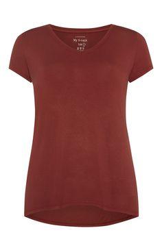 Red Viscose V Neck T-Shirt £3