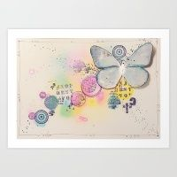 Butterfly In The Bubbles Art Print