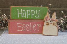 Happy Easter wood blocks