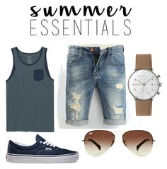 """""""Men's Summer Wear"""" by peyton-ali ❤ liked on Polyvore featuring RVCA, Vans, Ray-Ban, Junghans, men's fashion, menswear and summermenswearessentials"""