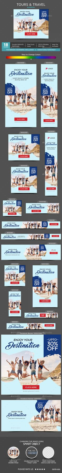 Tours & Travel Banners — Photoshop PSD #flat design #coupon • Available here → https://graphicriver.net/item/tours-travel-banners/20237139?ref=pxcr