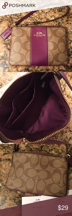 Coach wristlet Coach wristlet with raspberry trim 6in wide, 4in high, 7in loop. 2 interior wall pockets. Beautiful, holds the important things, license, credit card, and lipstick 💋 Coach Bags Clutches & Wristlets