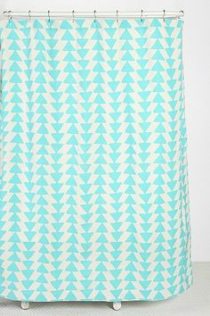 Triangle-Chain Shower Curtain - triangle sponge, painters canvas, grey paint... done
