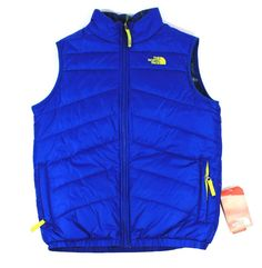 NWT Boys North Face Puffer Blue  Perrito  Vest Large 14/16 $99.99  REVERSIBLE #NorthFace #Vest #Everyday