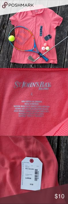 """St. John's Bay NWT Coral SS Sporty Polo Shirt Sz L NWT sporty polo shirt in """"Georgia Peach"""" (coral). Classic polo fit with stretch for ease of movement. A closet and vacation staple. Or perfect for a work golf outing or 1980's preppy costume! ⛳  Size L. By St. John's Bay (a JCP brand). 98% cotton, 2% Spandex.   Measurements: 20"""" bust, 26"""" shoulder to bottom hem St. John's Bay Tops"""