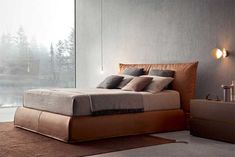Piumotto: a modern double bed with a wide feather-filled cushion and upholstered in soft leather or removable fabric. Modern Double Beds, Minimal Living, Bed Design, Bed Frame, Soft Leather, Minimalism, Modern Design, Master Bedroom, Relax