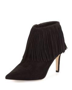 Kandice Fringe Ankle Boot, Black, Size: 38B/8B - Sam Edelman